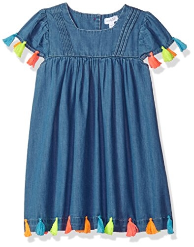 Mud Pie Baby Girls Chambray Tassel Cap Sleeve Casual Dress, Blue, 3T (Mud Pie Dresses Girls 3t)