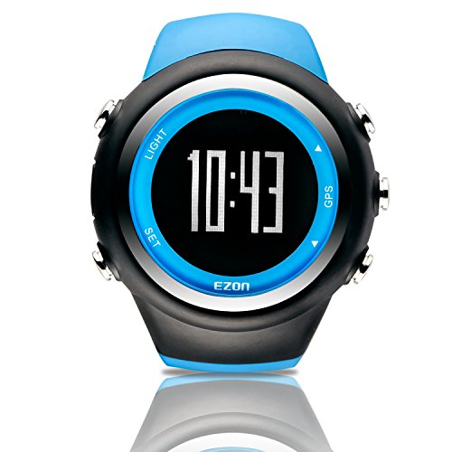 EZON GPS Sport Watch with Pace Speed Distance GPS Wristwatch T031A03 Blue (Running Watches For Men)