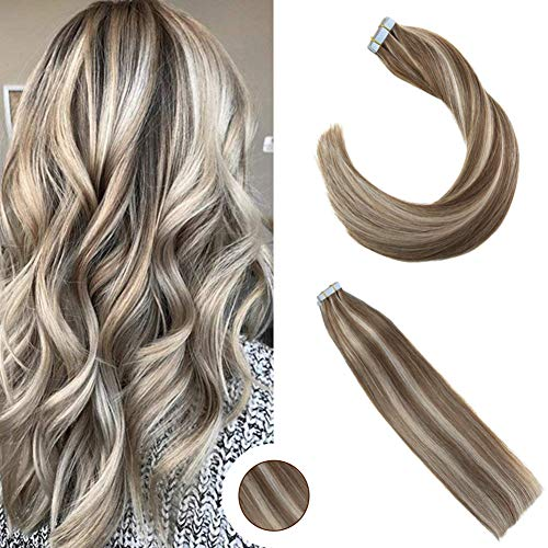 (Ugeat 14 inch Seamless Tape Hair Extensions Piano Color 10 Brown Highlight Color 613 Blonde Invisible Tape Hair Skin Weft Extensions Glue in Hair Extensions 50g/20pcs)