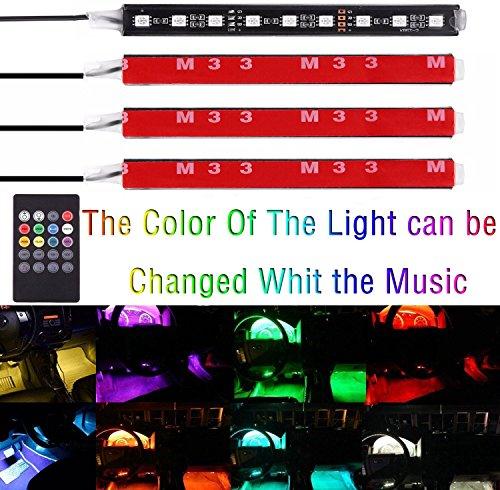 Car LED Strip Light,EJ's SUPER CAR Car 4pcs 36 LED DC 12V Multi-color Music Car Interior Music Light LED Underdash Lighting Kit with Sound Active Function and Wireless Remote Control…