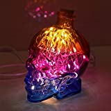 DMMSS Modern Creative 3 Color Night Light Bedroom Bedside Lamp Led Energy-Saving Skull Headlights Usb Charging Desk Lamp Desktop Writing Lamp Led Night Lights L11CmW9CmH14Cm , 2
