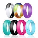 Silicone Ring,Jowwier Silicone Wedding Band for Women – 7 Rings Pack Premium Wedding Bands Engagement Active Athletes Comfortable Fit Non-toxic Antibacterial Silicone Rings (5 color, 9) Review