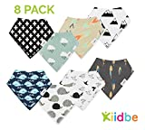 Baby Bandana Drool Bibs for Teething Newborns and Toddlers (8 Pack), Unisex Drool Scarf for Girls & Boys, Organic Cotton and Waterproof Polyester Back, Ultra Absorbent and Hypoallergenic by Kiidbe
