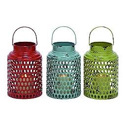 Benzara Metal Candle Holder Assorted with Lantern Design, Set of 3