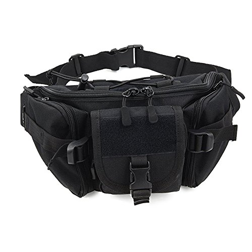 ChilMo Waterproof Tactical Waist Pack Bag Military Fanny Packs Hip Belt Bag Pouch for Hiking Climbing Bumbag,Black -