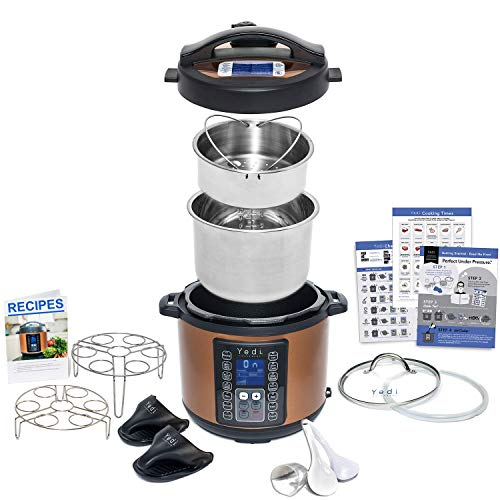 9-in-1 Instant Programmable Pressure Cooker 6 Quarts with Stainless Steel Pot, Steamer Basket, Glass Lid, Recipe Book. Pressure cook, slow cook, sauté, rice cooker, yogurt, steam by Yedi Houseware