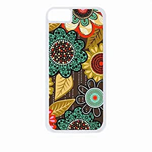 Floral Pattern- Case for the Apple Iphone 5/5s-Hard White Plastic Outer Shell with Inner Soft Black Rubber Lining