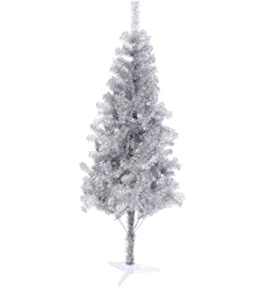 6 ft sparking gorgeous folding artificial tinsel christmas tree silver color 450 tips unlit - Silver Christmas Trees