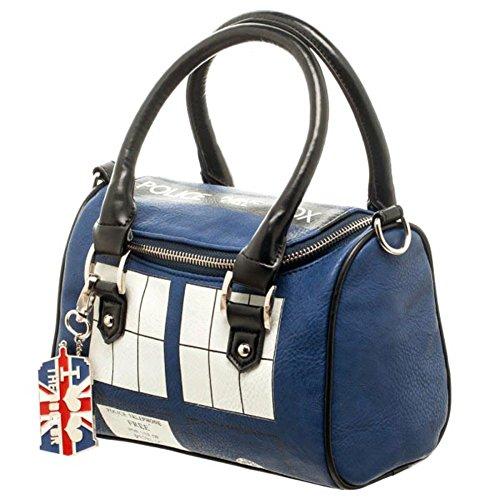 Official TARDIS Mini Satchel and Metal Charm Keychain Shoulder Handbag, Blue (Tardis Mini)