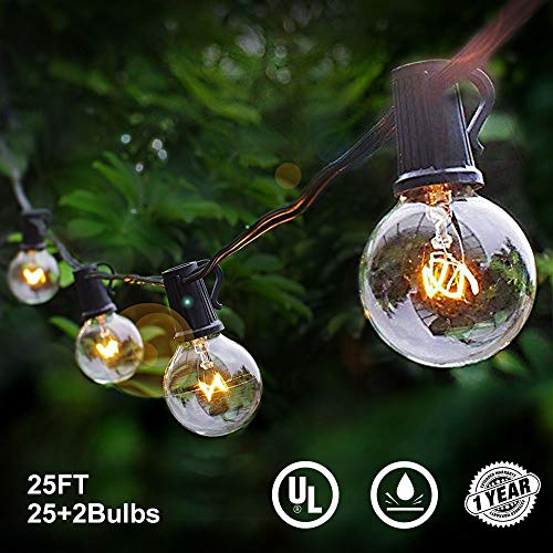 Lalapao Globe String Lights 25Ft G40 Commercial Decor Outdoor Patio Lights UL Listed Handling Lights with 27 Clear Bulbs Waterproof for Indoor Cafe Porch Bistro Garden Backyard Holiday Party Decor