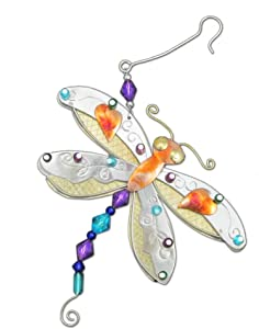 Rainbow Dragonfly Firefly Bronze Nickel and Copper Hanging Ornament Garden Planter Handmade Gift Boxed