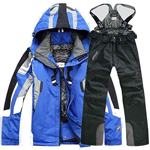 lobezm+Men%27s+Winter+Coat+Pants+Jacket+Waterproof+Ski+Suit+Snowboard+Sports+Outdoor+%28L%2C+Blue+Coat%2BPants%29