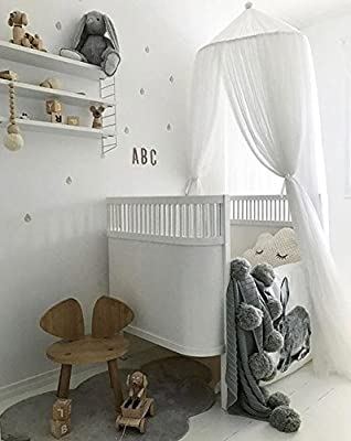 LEDUNUS Princess Bed Canopy Mosquito Net for Kids Baby Bed, Round Dome Kids Indoor Outdoor Castle Play Tent Hanging House Decoration Reading Nook Cotton Height 240cm / 94.9inch