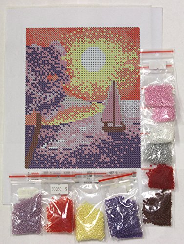 Beaded Embroidery Kit DIY Yacht Canvas Bead Set Needle Guide For Beginners