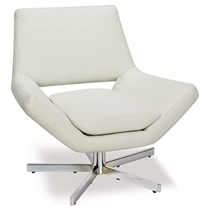 Bon AVE SIX Yield Modern 31 Inch Wide Lounge Chair In Faux Leather With Chrome  Finish