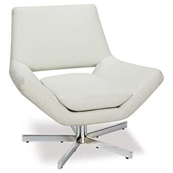 modern white lounge chair. AVE SIX Yield Modern 31-Inch Wide Lounge Chair In Faux Leather With Chrome Finish White O