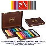 Caran D'ache 30 Supracolor Water-Soluble Colour Pencils & 30 Pablo Permanent Colour Pencils (3002.460)