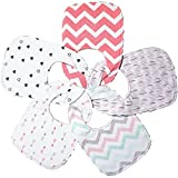 Triple Layer Waterproof Baby Bibs, Cotton Front, Plastic Liner, Minky Dot Back, Adjustable Snaps for Eating, Drooling or Baby Shower, 0 to 12 Months Size (5 Pack Set in Beautiful Patterns for Girls)