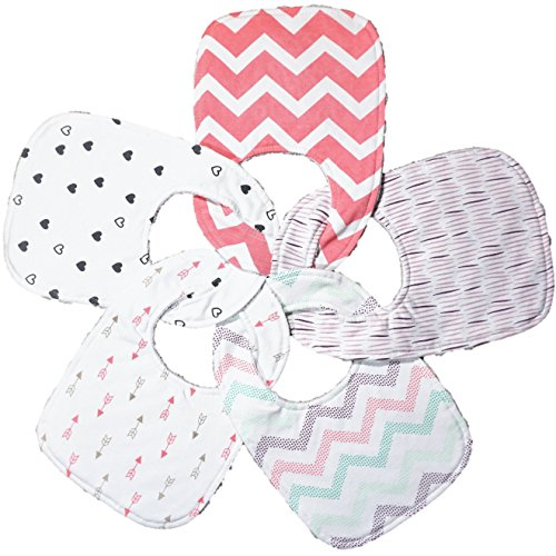 Baby Bugs Baby Bib (Triple Layer Waterproof Baby Bibs, Cotton Front, Plastic Liner, Minky Dot Back, Adjustable Snaps for Eating, Drooling or Baby Shower, 0 to 12 Months Size (5 Pack Set in Beautiful Patterns for Girls))