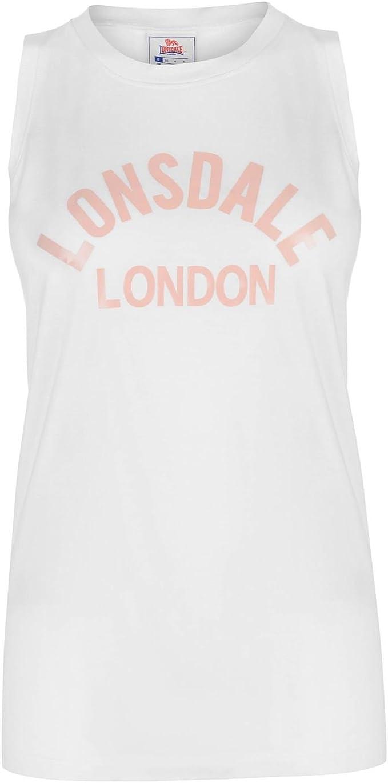 Lonsdale Large Logo Vest Ladies Tank Top Sleeveless Crew Neck Cotton Loose Fit