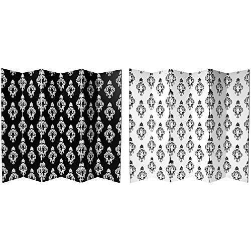 Oriental Furniture 6 ft. Tall Double Sided Black and White Damask Canvas Room Divider 6 Panel