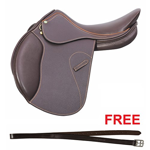 Nylon Lined Stirrup Leathers - Henri de Rivel Memor-X Close Contact English Saddle with Free Nylon Lined Stirrup Leather | Horse Riding Equestrian Saddle - Memory Foam Seat - Australian Nut Printed - 16.5 Regular