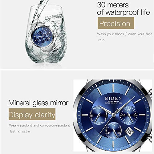 Watch,Mens Watches,Sport Casual Fashion Business Wrist Watch,Stainless Steel Waterproof Silver Blue Multifunctional Chronograph by ASWANWATCH (Image #5)