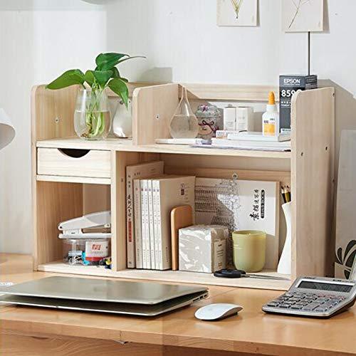Libreros Estante para Libros Almacenamiento Organizador Monitor Estante Escritorio Madera Estante con Cajón CJC (Tamaño :...