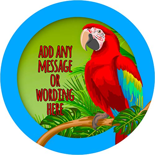 Parrot Bird Sticker Labels (12 Stickers, 2.5'' Inch Each) Personalized Seals Ideal for Party Bags, Sweet Cones, Favours, Jars, Presentations Gift Boxes, Bottles, - Parrot Jar
