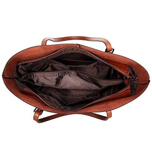Women's Vintage Fine Fibre Genuine Leather Bag Tote Shoulder Bag Handbag Model Sie Black by CIR (Image #4)