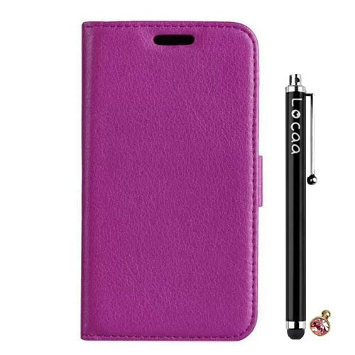 Locaa(TM) Huawei Ascend G7 New Leather Case + Phone stylus + Anti-dust ear plug Deluxe Luxury Crystal Pearl Diamond Rhinestone eye-catching Beautiful Leather Retro Support bumper Cover Card Holder Wallet Cases - [Pure color Series] Purple