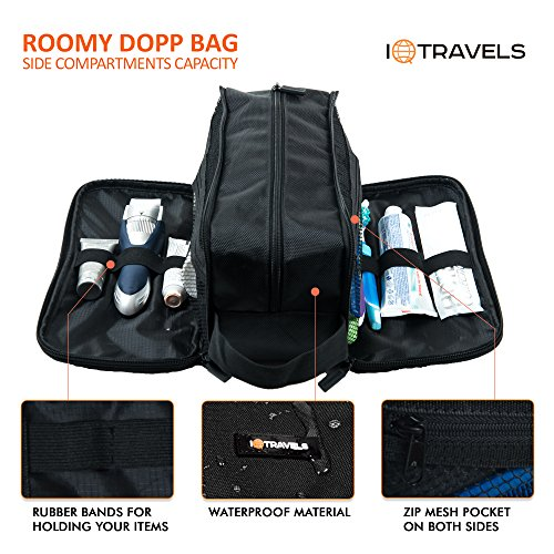 dopp kit  12 inches  3 compartments   waterproof bag  u2013 easy organization travel toiletry bag for