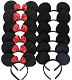 Mickey Mouse Ears Solid Black and Bow Minnie Headband for Boys and Girls Birthday Party or Celebrations (Pack of 12)