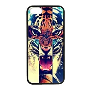 iPhone 5 5S Case,Tiger Roar Cross Hipster Quote Jesus Christ Cross Combo Hign Definition Wonderful Design Cover With Hign Quality Rubber Plastic Protection Case