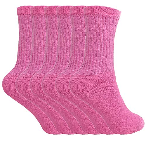 Cotton Crew Socks for Women Made in USA Smooth Toe Seam Socks (10-13, Pink 6 Pack)