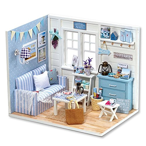 Free Flever Dollhouse Miniature DIY House Kit Creative Room With Furniture and Cover for Romantic Valentine's Gift