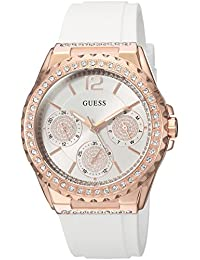 GUESS Women's Quartz Stainless Steel and Silicone Casual Watch, Color:White (Model: U0846L5)