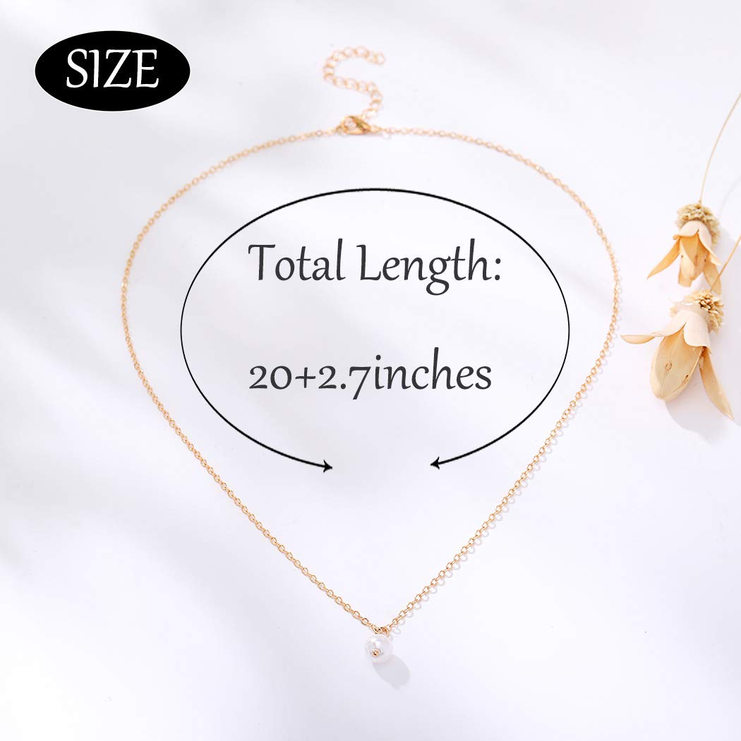 Campsis Gold Plated Pearl Pendant Necklace Simple Pendant Chain Necklaces Fashion Handmade Dainty Jewelry for Women and Girls