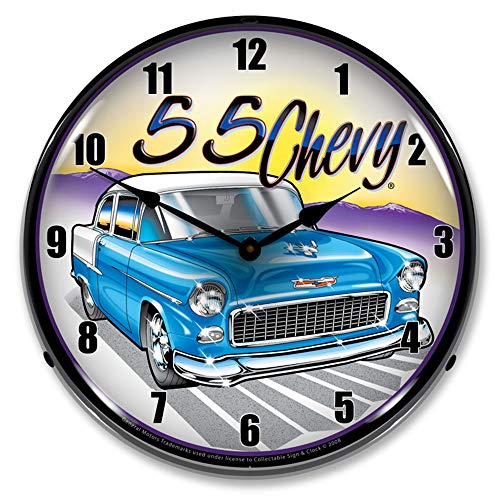Chevy 14 Inch Neon Clock - 1955 Chevy LED Wall Clock, Retro/Vintage, Lighted, 14 inch