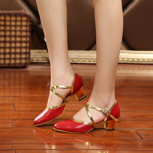 Red Miyoopark Ankle Heel MY001 Women's 5cm Tango Pumps Salsa Strap Dancing Latin Wedding Leather Shoes SwSrqC7