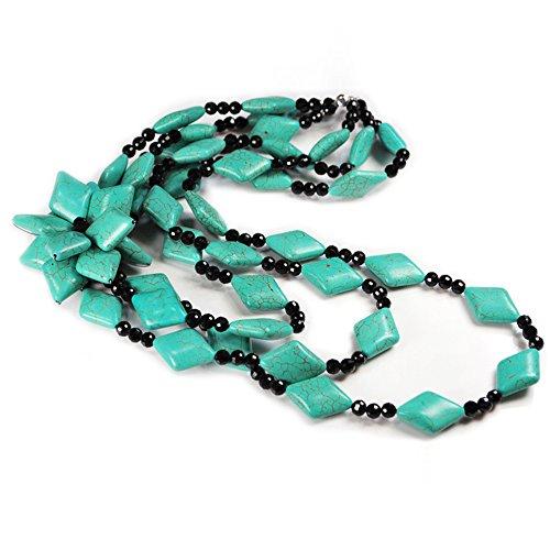 NY6design Multi Strands Blue Magnesite Turquoise &Flower Pendant, Onyx Silver Long Necklace N14071143i Onyx Slide Pendant
