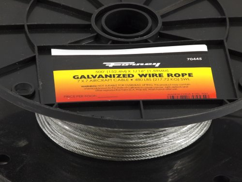 Forney 70445 Wire Rope, Galvanized Aircraft Cable, 500-Feet-by-1/16-Inch