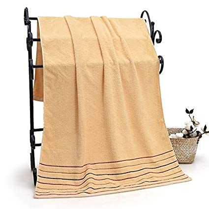 Dreamingces-Toallas De Baño Puras Bandas De Colores Brown 70*140Cm Ultra Suave Y