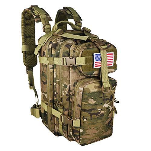 (WolfWarriorX Small Assault Backpack 26L Military Tactical Pack Expandable Backpacks Outdoor Hiking Rucksack Pack MOLLE System Bag Daypack for Men, Women (Multicam))