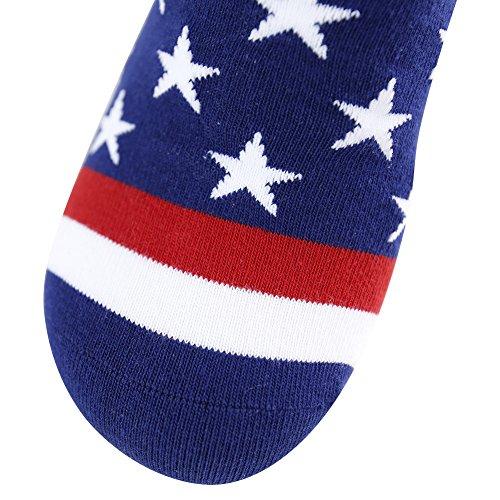Business Gift Socks, LANDUNCIAGA Men Crew Classic Patriotic American Flag Socks Stars Stripe Design Funny Novelty Cotton Crew Bridegroom Groomsmen Socks Mid Calf,6 Pairs by LANDUNCIAGA (Image #8)