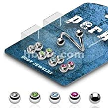 """Eyebrow Double gem Body Jewelry Piercing Bar Ring 16G 3/8"""" Twister Spiral Bonus Package with 5 Pairs of Interchangable Assorted Color Gem Ball Set Body Accentz®"""