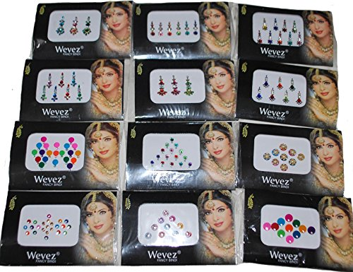 12 Pack Indian Art Bollywood Reuseable Bindi Self Adhesive Body Stickers/Tattoo ()