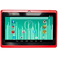 7 WiFi & Bluetooth Android 4.4.2 Tablet Quad Core CPU & Dual Camera & Keyboard - Red