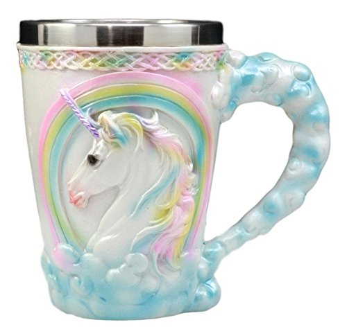- Ebros Gift Sacred Heavenly Rainbow Unicorn Mug 12oz Celtic Knots Rim Magical Elixir Of Youth Beer Stein Tankard Coffee Cup Drink 5