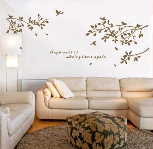 Onehouse Brown Tree Vine Happiness Is Being Home Again Quotes Lettering Wall Decal Sticker Amazon Com